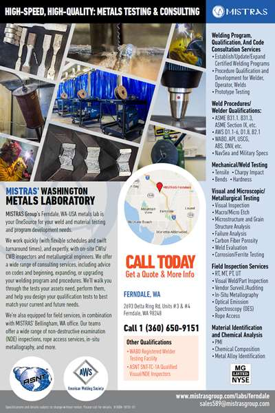 MISTRAS Bellingham Metals Lab Postcard